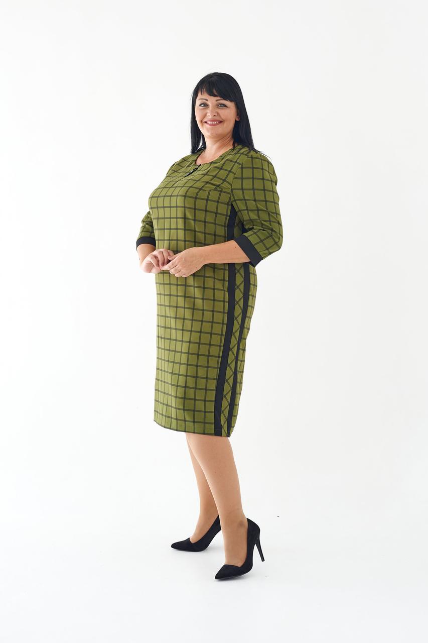 Женское деловое платье миди прямое в клетку 52,54,56 размеры Хаки