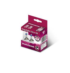 Автолампа галоген Tungsram H4 60/55W 12V (2 шт./картонбокс) Megalight Ultra +90%, фото 2