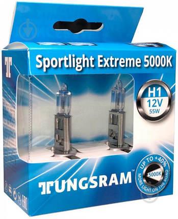 Автолампа галоген Tungsram H1 55W 12V (2 шт./картонбокс) Sportlight Extreme 5000K, фото 2