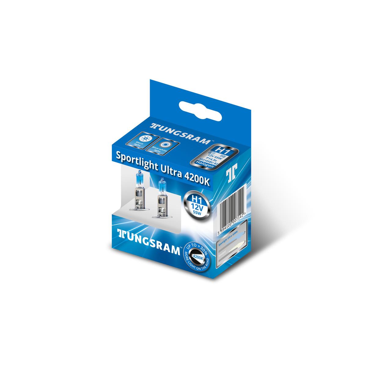 Автолампа галоген Tungsram H1 55W 12V (2 шт./картонбокс) Sportlight Ultra 4200K