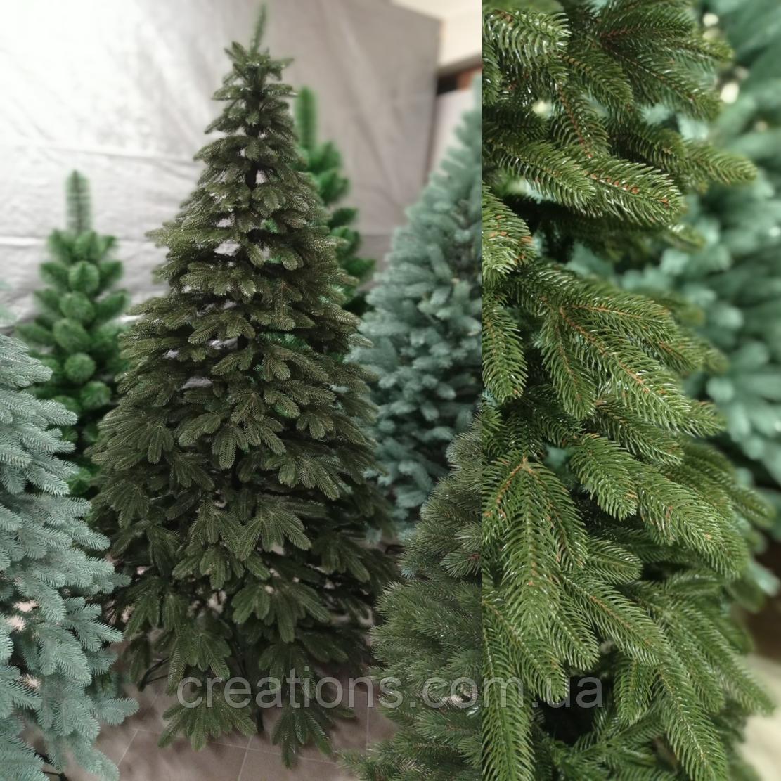 Елка Элитная литая Премиум 2.3 м. зеленая, реалистическая новогодняя, натуральная с подставкой
