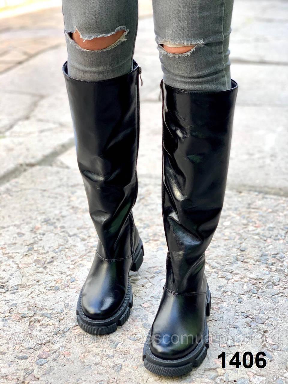 Сапоги женские зимние кожаные черный рабат