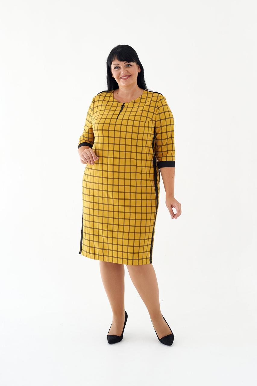 Жіноче ділове плаття міді пряме в клітку 52,54,56 розміри Хакі