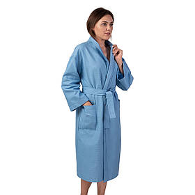 Вафельний халат Luxyart Кімоно розмір S 100% бавовна Синій КОД: LS-1559