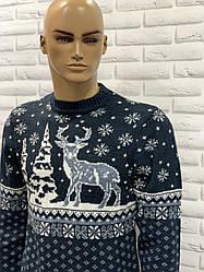 Стильний теплий новорічний чоловічий светр 48 розмір