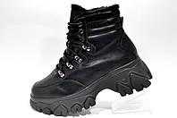 Черные зимние ботинки на высокой подошве, женские