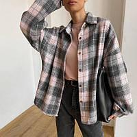 Рубашка женская фланелевая удлиненная оверсайз в расцветках