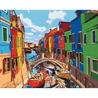 """Картина по номерам """"Краски города"""" (Венеция, канал, лодки)"""