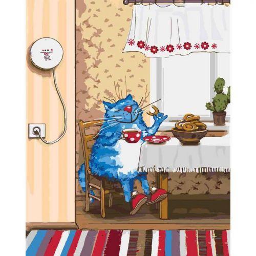 "Картина по номерам ""Субботнее утро"" ★★★ (кот, синий кот, уют, кошка)"