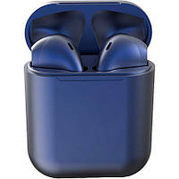 Беспроводные сенсорные наушники темно-синие i12 TWS Pods dark blue, фото 1