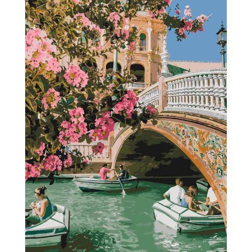 "Картина по номерам ""Романтическая прогулка"" ★★★★★ (Венеция, мост, канал)"