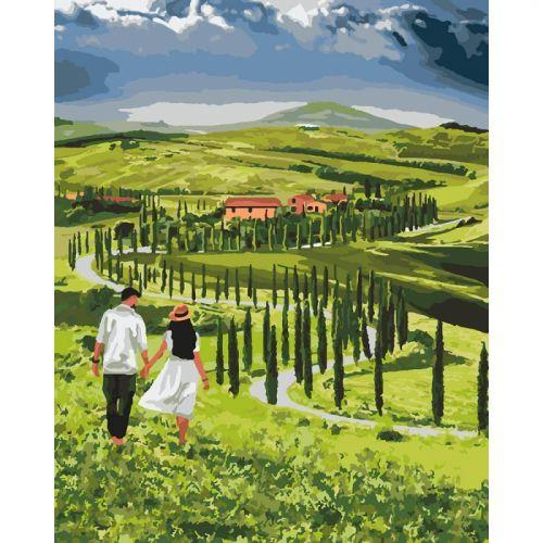 """Картина по номерам """"Прогулка с любимым"""" ★★★★★ (любовь, природа, пейзаж)"""