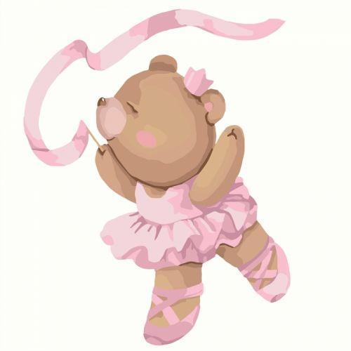 """Картина по номерам """"Балеринка"""" ★★★ (детская, для детей, для ребенка, несложная, простая, маленькая)"""
