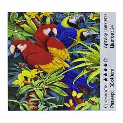 """Алмазная мозаика """"Попугаи"""" (попугаи, пара попугаев, папугай)"""