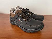 Мужские зимние кроссовки черные на меху (код  8207), фото 1