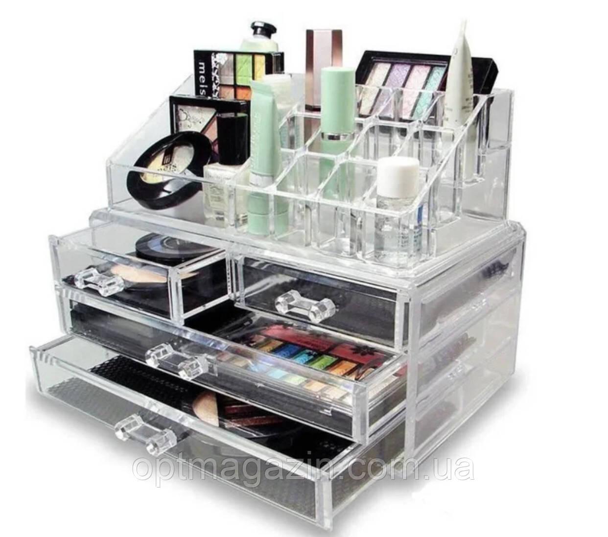 Настільний акриловий органайзер для косметики Cosmetic Storage Box   Бокс органайзер для косметики