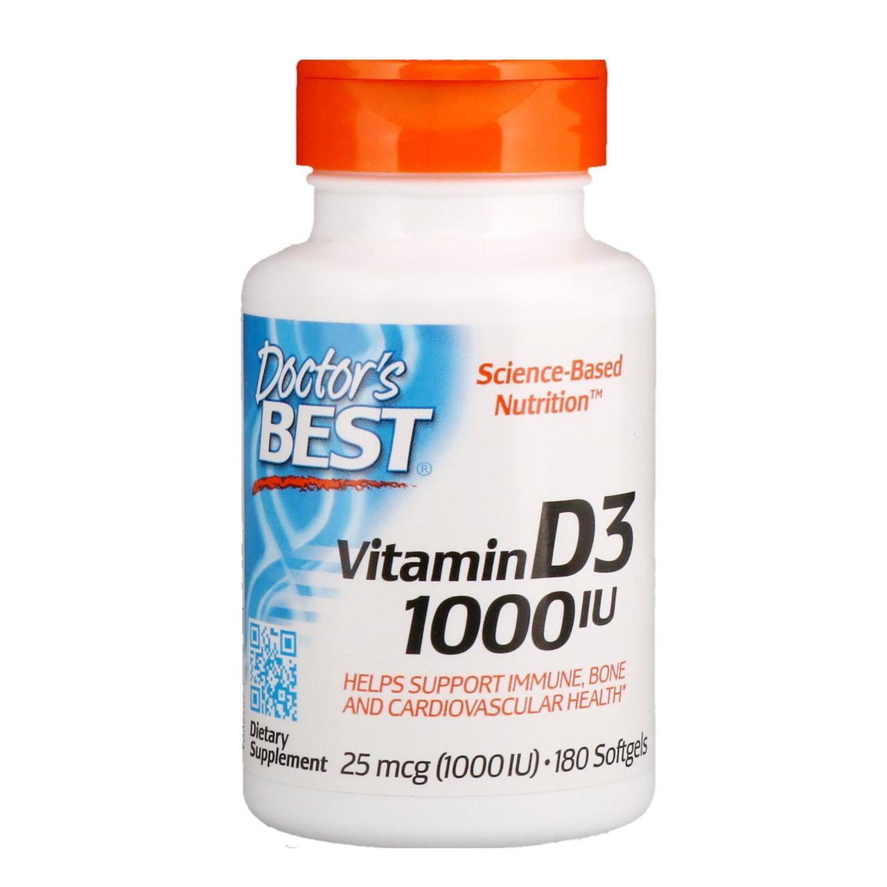 Витамины Doctors Best VITAMIN D3 1000 180 капсул