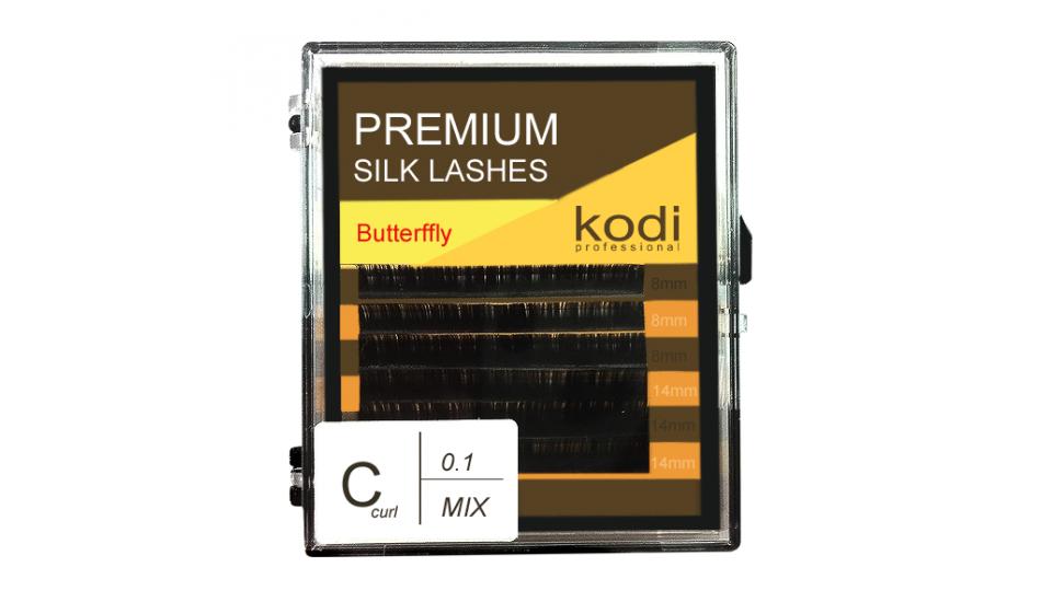 Ресницы Kodi Butterfly темно-коричневые С 0.1 Х 8/14 мм
