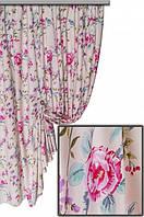 """Ткань для штор, скатертей и оббивки мебели в стиле прованс """"Лаки"""", 70 % хлопок, крупный розовый цветок"""