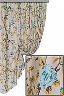"""Ткань для штор, скатертей и оббивки мебели в стиле прованс """"Лаки"""", 70 % хлопок, крупный голубой цветок"""