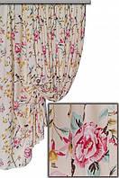 """Ткань для штор, скатертей и оббивки мебели в стиле прованс """"Лаки"""", 70 % хлопок, крупный бледнорозовый цветок"""