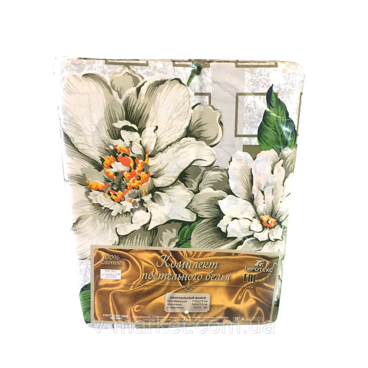 """Постельное белье """"Цветы"""" жатка двуспальное макси Тирасполь, Tirotex"""
