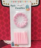 Свечи для торта 12шт розовые, фото 1