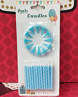 Свечи для торта 12шт голубые, фото 1
