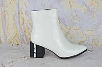 Белые ботинки женские на каблуке Verendina