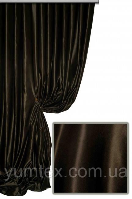 Портьерная ткань сатен сапфир, цвет шоколадный