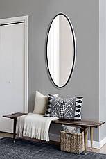 Овальное ростовое зеркало, черное 1300х600 мм, фото 3