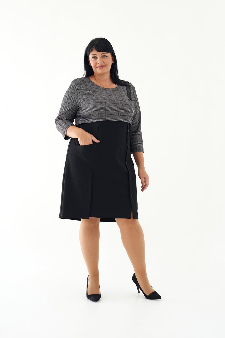 Женское деловое платье миди в клетку 54,56,58 размеры Черный