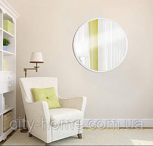 Зеркало круглое на основе ДСП 600мм белое, фото 2