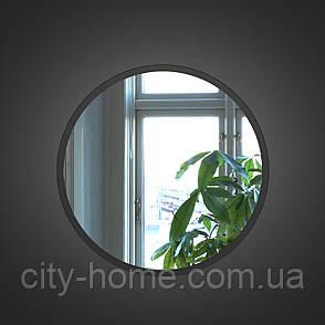 Чорне кругле дзеркало 600 мм, фото 2