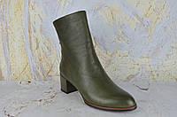 Зеленые ботинки женские на маленьком каблуке BROCOLY