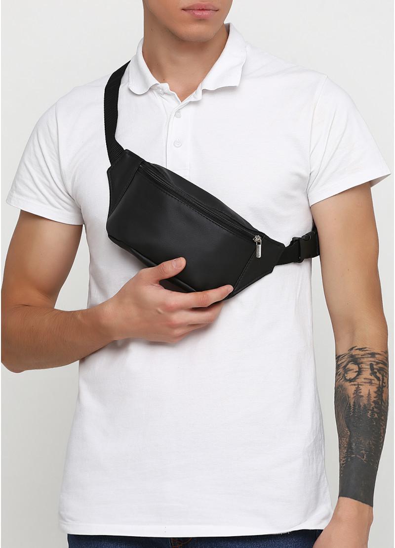 Модная мужская черная бананка, поясная наплечная сумка кроссбоди на пояс, через плечо кожзам, экокожа