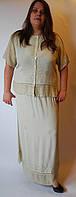 Костюм женский (блузка с юбкой) бежевый, на 48-56 размеры, фото 1