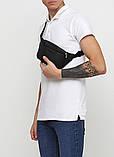 Модная мужская черная бананка, поясная наплечная сумка кроссбоди на пояс, через плечо кожзам, экокожа, фото 2