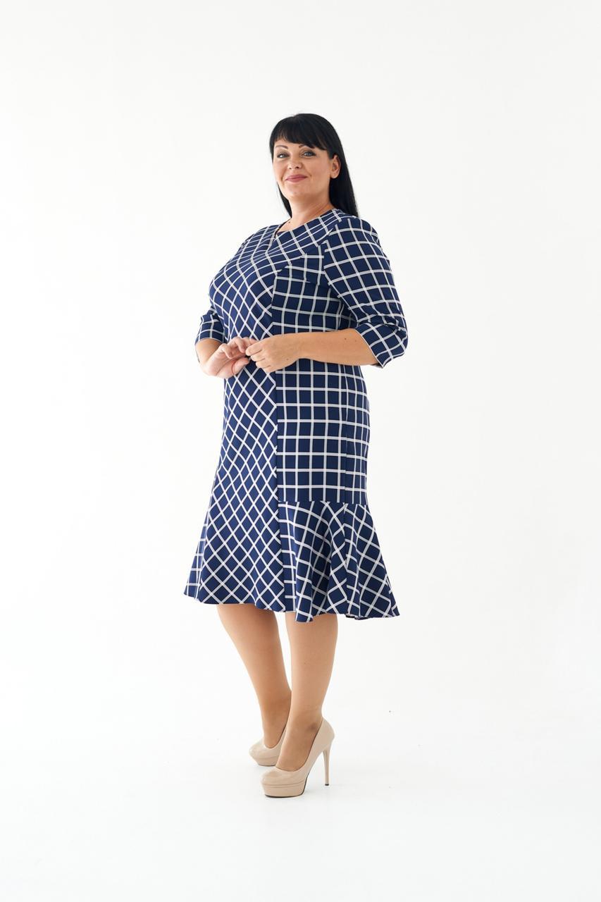 Жіноче ділове плаття міді з воланом в клітку 56,58,60 розміри Синій