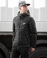 Мужская зимняя куртка Найк черная с капюшоном, реплика