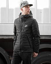Чоловіча зимова куртка Найк чорна, з капюшоном, репліка