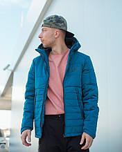 Мужская зимняя куртка Найк синяя с капюшоном, реплика