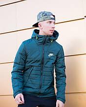 Чоловіча зимова куртка Найк синя з капюшоном, репліка