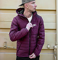 Мужская зимняя куртка Найк фиолетовая с капюшоном, реплика