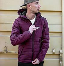 Чоловіча зимова куртка Найк фіолетова з капюшоном, репліка