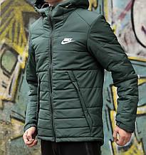 Мужская зимняя куртка Найк зеленая с капюшоном, реплика