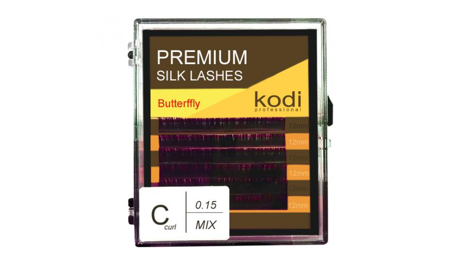 Ресницы Kodi Butterfly фиолетовые С 0.15 Х 12 мм
