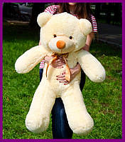 Мягкий плюшевый мишка Раф 100см персиковый, подарок для девушки на день рождения