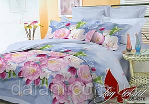 Голубой евро комплект постельного белья из поликоттона цветы