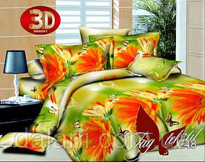 Зеленый евро комплект постельного белья из поликоттона цветы